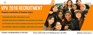 VPV STAFF RECRUITMENT – JANUARY 2019